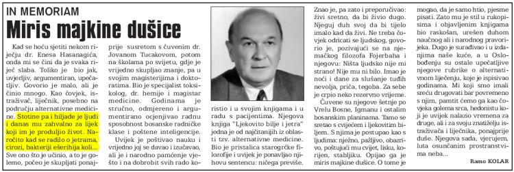 Sarajevsko OSlobodjenje povodom smrti doktora Hasanagica